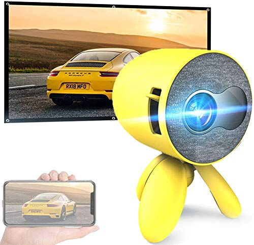Mini Projector with Projector Screen, Support 1080p Hd Home Theater Video Cinema Led Portable Pocket Video Projectors Hdmi/USB/Sd/Av/Smart Phone Laptop Tablet Tv, Yellow