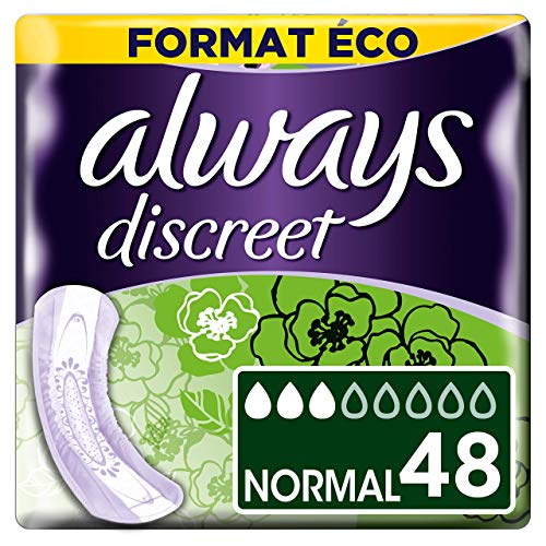 Always Discreet - Serviettes pour incontinence / fuites urinaires, Normal, Format éco x48
