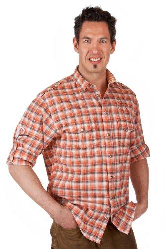 Orbis Textil H069 - Trachten Hemd mit Krempelarm orange Größe S