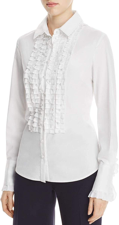 Elie Tahari Womens Juliette Embellished Button Down Blouse