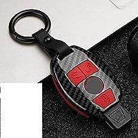車のキープロテクター-車のキープロテクトケースカバー、メルセデスベンツに適合A B RGクラスGLKGLA W204 W251 W463 W176 (Color : B-carbon Red)
