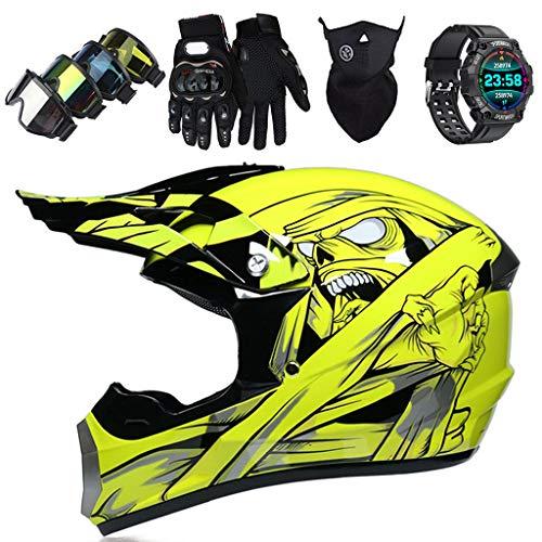 LCRAKON Motorbike Helmets Kids Motocross Helmet Set (5 Piece) Full Face Off Road Downhill Dirt Bike MX ATV Quad Bike Adult Crash Helmet with Gloves, Goggles, Mask, Sports Smart Watch