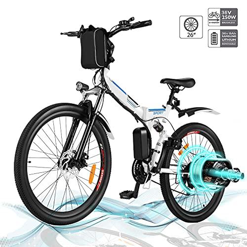 Hiriyt Faltbares E-Bike,36V 250W Elektrofahrräder, 8A Lithium Batterie Mountainbike,26 Zoll Große Kapazität Pedelec mit Lithium-Akku und Ladegerät (Faltbar_Weiß.)