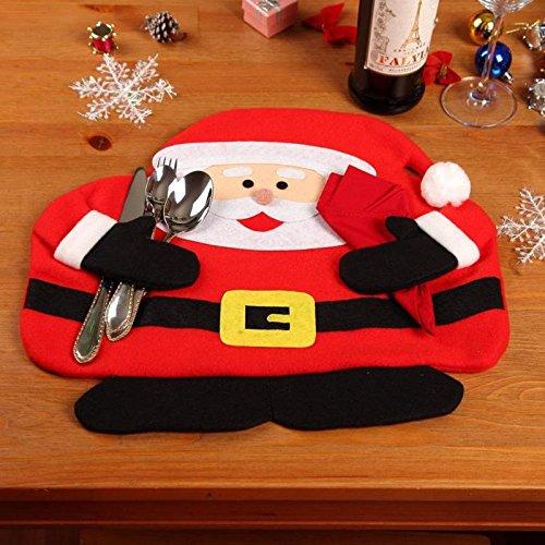 Treasure-house bonshommes de neige de Noël Lot de 6 sets de table avec serviettes en rouge fantaisie Décor argenterie support coque Set de table, assiettes Puting fourchettes couteaux Serviette tenant