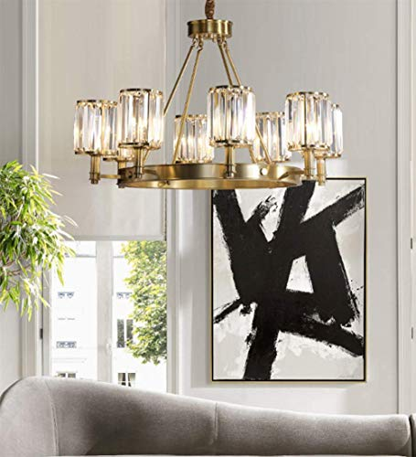 SHIJING nieuwe koperen lamp kroonluchter eenvoudige Amerikaanse woonkamer schijnwerper postmoderne sfeer Villa Master kamerlamp slaapkamerlamp