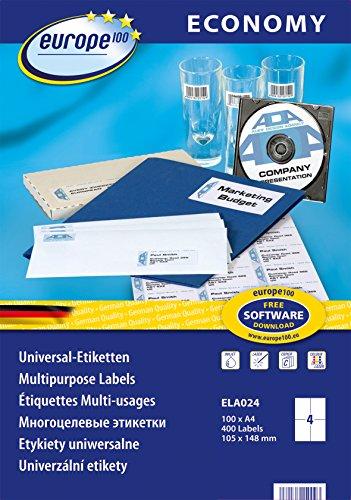 europe100 ELA024 Universal Etiketten A4 (105x148,5 mm, 400 Etiketten auf 100 Blatt, selbstklebend, 3483) weiß