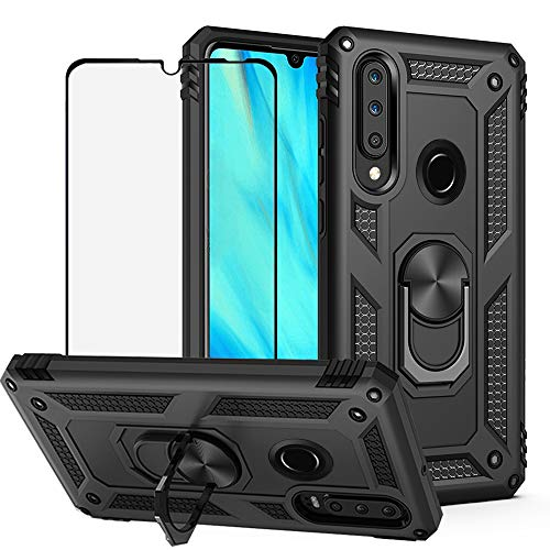 BestShare for Huawei P30 Lite Case & Tempered Glass Screen Protector, Rugged Hybrid Armor Anti-Scratch Shockproof Kickstand Cover & Magnetic Car Mount Ring Grip, Black