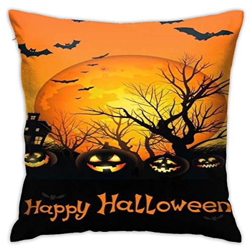 ingshihuainingxiancijies Happy Halloween Pumpkin Lanternpolyester Pillowcase Romantic Living Room Family Bedroom Pillowcase 18 X 18 Inches