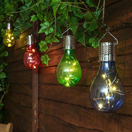 Guirlandes Lumineuses Covermason Imperméable à l'eau solaire pivotant jardin extérieur Camping suspendu LED ampoule rose chaud