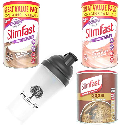 SlimFast KIT Made of 4 Products, High Protein Meal Replacements Shakes (Chocolate 300g, Cafe Late 584g, Strawberry 584g), 3 Flavours in One Handy Kit and 1 x Seven Trees Farm Shaker 700ml