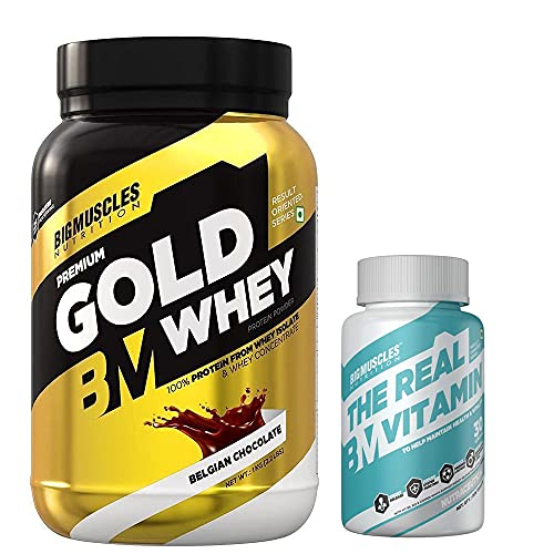 Bigmuscles Premium Gold Whey 1Kg Belgian Chocolate & Bigmuscles Real Vitamin 30 Tablets