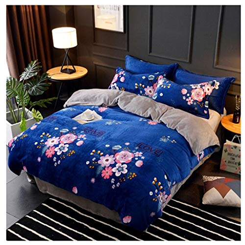 Unbekannt Flanell-Blätter sind Kissenbezug Muster dick warm Vier-Stück Heimtextilien einfache großzügige Bettwäsche Winter 4 Farben MUMUJIN (Color : Blue, Size : 1.8m)