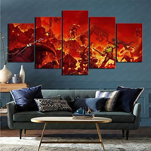 Pintura impresión de imágenes Videojuego de 5 Piezas Doom (2016) Sala de Estar Dormitorio decoración del hogar 80x150cm (sin Marco)