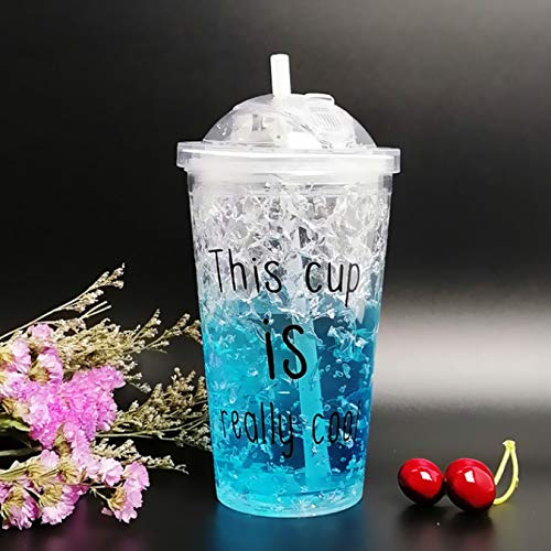 Taza de agua de plástico con tapa deslizante Botella de agua de plástico de color degradado Tazas de café frío Plástico a prueba de fugas 450Ml