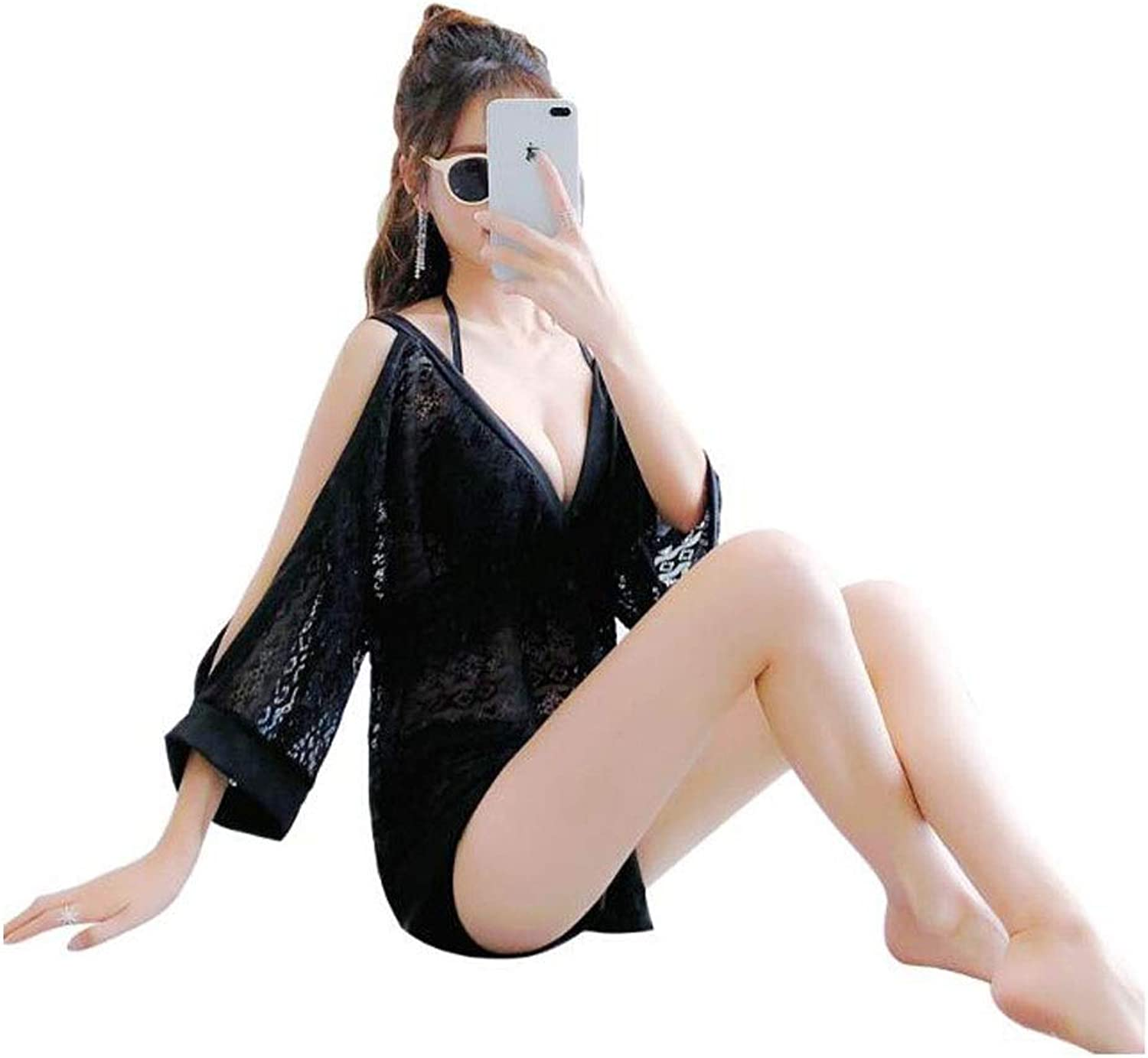 Huijunwenti Women's Swimsuit, TwoPiece Comfortable Sexy Swimsuit, Stylish and Simple, (Size  L, XL, XXL, color  Black) Women's Swimsuit, Sexy Swimsuit