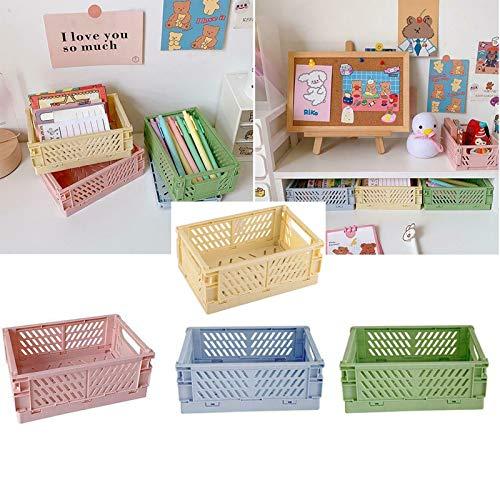 Mini Folding Plastic Storage Box Folding Basket Crate Container Student Desktop Organizer Hand Account Tape Stationery Skin Care Storage Basket GreenblueCream yellowpink