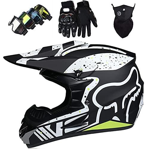 WAHA Casco di Motocross, Casco da Motocross per Bambini e Adulti, Casco MTB, Casco da Moto in Discesa con Occhiali/Maschera/Guanti, 7 Colori,Nero,S