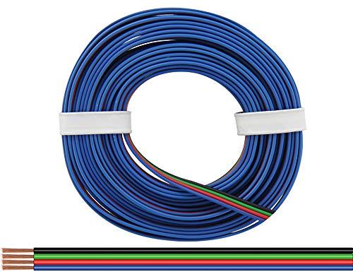 Vierlings kabel aansluitkabel 0,25 mm RGB LED Stripes strepen zwart groen rood blauw 5 m ring