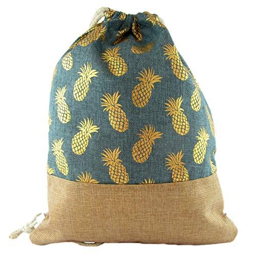 Casual Drawstring Bag Rucksack Tasche Goldener Ananas-Print für Fitnessstudio, Strand, Bohemian Hippie Style, Gymsack, Sports Daypack. (Grün)
