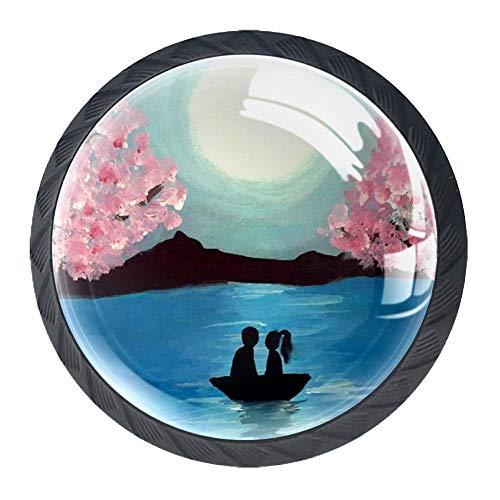 Paint Sip Love - Juego de 4 pomos redondos para armarios de cocina y baño, tiradores de muebles