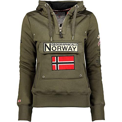 Geographical Norway GYMCLASS LADY - Damen Sweatshirt Hoody Und Taschen Känguru - Damen Sweatshirt Langarm-Pullover Winter - Hoodie Jacke Tops Sport Kapuzen Hoodies (KHAKI 2XL - GRÖSSE 5)