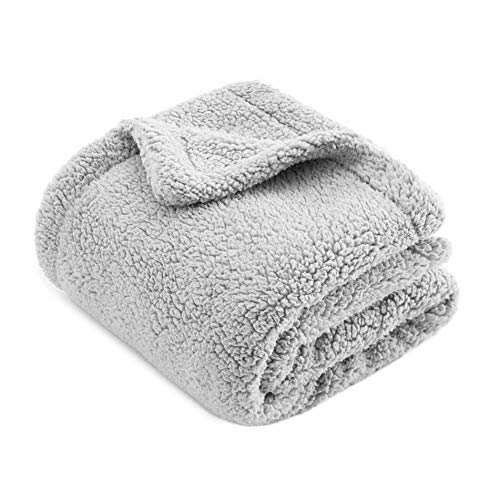 """CHEE RAY Owl Grey (47"""" x 32"""") Extra Thick Washable Snugly Sherpa Fleece Bed Blanket for Dogs and Cats, Durable Warm Fluffy Throw fit Beds/Couch/Sofa/Kennel/Carrier"""