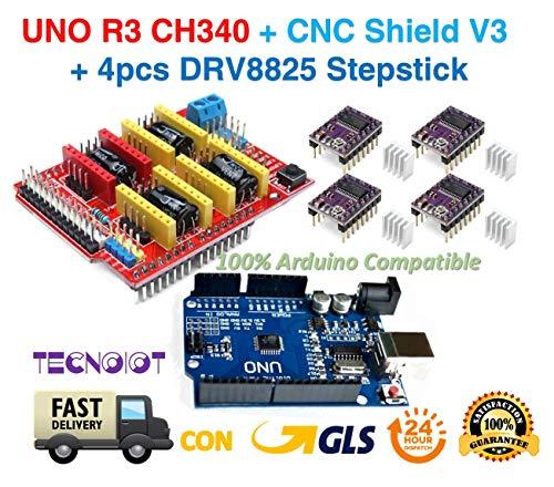 PACK 3D PRINTER - UNO R3 + CNC Shield V3 Expansion Board + 4pcs DRV8825 Stepper Motor Driver | Modulo di espansione Arduino CNC shield V3.0 + Arduino UNO R3 + 4pcs controller per motori passo-passo DRV8825 con dissipatori di calore