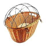 JJSFJH Cestas de ciclo de la bicicleta frente de la cesta de mimbre cómodo bicicletas Cesta Con protectora trasera de alambre montado en bicicleta cesta portador del animal doméstico (Color: Madera, T