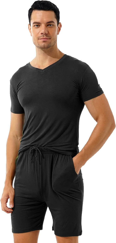 Seasonal Wrap Introduction Sholeno Mens Pajamas Drawstring Shorts Cott Set Sleepwear Summer Challenge the lowest price