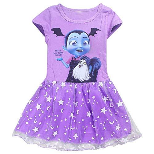 KIRALOVE 1/2 Jahre - größe 100 - Kleid - einteilig - vampirina - Kurzarm - tüll - Tutu - Sommer - mädchen - Cosplay - Karneval - Halloween - lila Farbe Cosplay