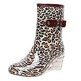 YWLINK Botas De Lluvia Mujer Impermeable Leopardo Zapatos con CuñA Botas De Nieve Estilo Punk Zapatos De Agua Transparentes Zapatos De Goma Moda CóModo TamañO Grande Tubo Medio Y Alto(marrón,37EU)