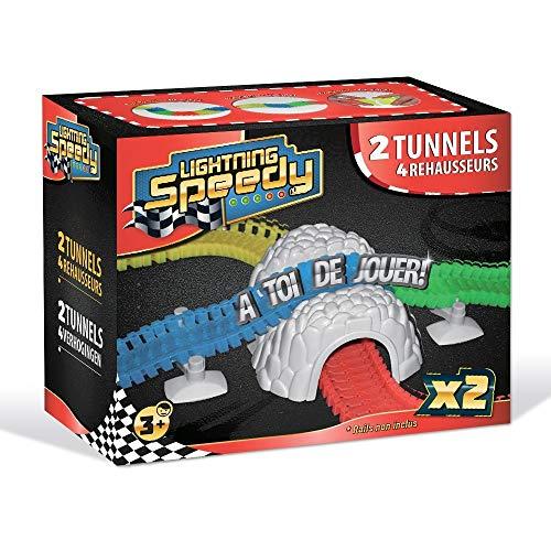 LIGHTNING SPEEDY 2 Tunnels et 4 rehausseurs, Accessoires pour Un Circuit Amusant et Plus Fun - Vu à la TV
