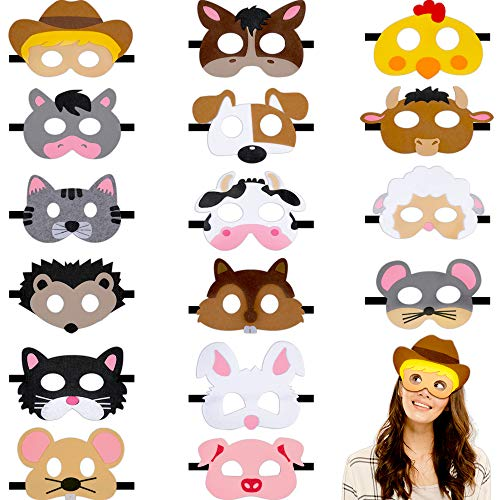 16 Pieces Farm Forest Animal Felt Mask Cartoon Face Masks Animal Party Masks for Halloween Christmas Party Costumes Supplies (Farm Animals)