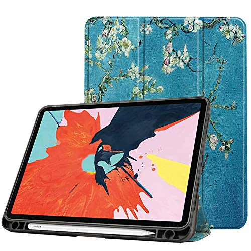Case for New Ipad Air 4 10.9 Inch 2020 (4Th Generation) with Pencil Holder, Soft TPU Back And Trifold Smart Protective Cover with Auto Sleep/Wake,apricot blossom