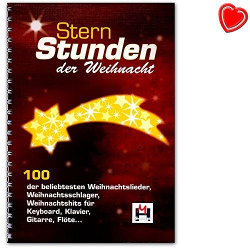 Steruren van de Kerstmis - 100 van de populairste kerstliedjes, kerstshits voor keyboard, piano, gitaar of fluit - notenboek met kleurrijke hartvormige notenklem