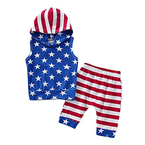 2Pcs/Set Baby Boy 4th of July Outfits,Sleeveless Hoodie Top+Harem Pants (Blue Hoodie + Striped...