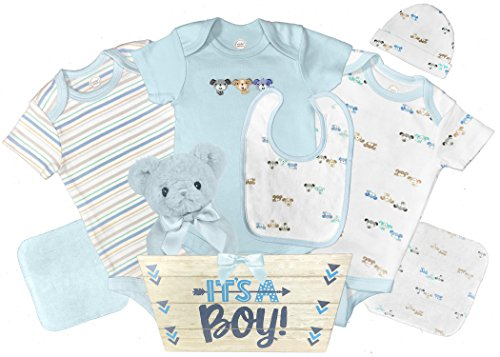 Teddy Bear Baby Gift Basket - 8 Pieces - Baby Shower Gift Set - Boy