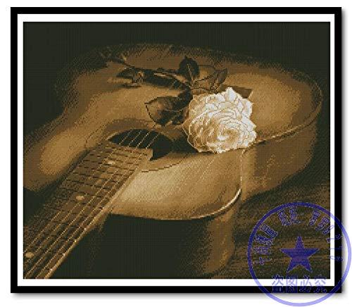 PJX Juego de punto de cruz, diseño de guitarra y rosa blanca, 11 ct sin impresión