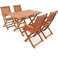 """Deuba Conjunto de jardín """"Sydney"""" de madera de Acacia comedor exterior 1 mesa y 4 sillas con reposabrazos 5 pzs terraza"""