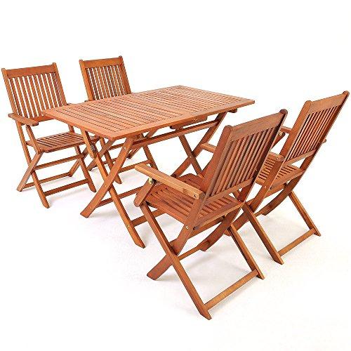 Deuba Conjunto de jardín 'Sydney' de Madera de Acacia Comedor Exterior 1 Mesa y 4 sillas con reposabrazos 5 pzs terraza