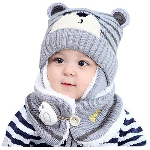 YONKINY Conjunto de Bufanda y Gorro de Punto para Bebe Niño Niña Linda Suave Sombrero Otoño Invierno Caliente Gorro con Bufanda de Lana Beanie Hat (Gris)