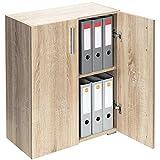 Deuba Standschrank Aktenschrank Mehrzweckschrank Schrank Holz »Vela« 2 Fächer mit 2 Türen Eiche【weitere Modell- & Farbauswahl】