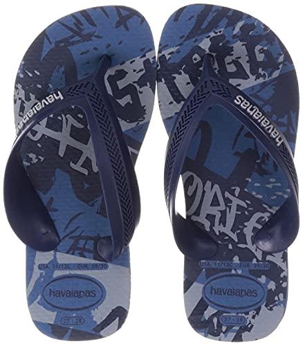 [ハワイアナス] キッズ ビーチサンダル (グラフィックプリント)[ HA5-072 / KIDS MAX STREET ] かわいい 海 ビーサン BLU_ブルー 17.0 cm