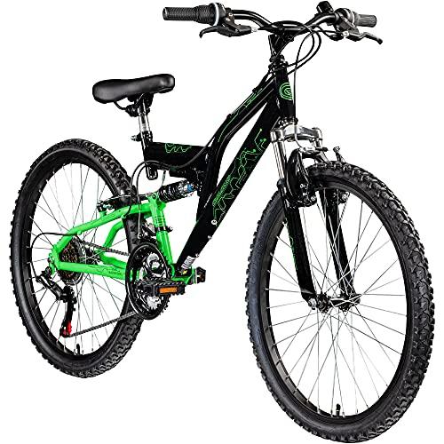 Galano FS180 24 Zoll Mountainbike Full Suspension Jugendfahrrad Fully MTB Kinder ab 8 Jahre Fahrrad (schwarz/grün, 37 cm)