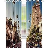 YUAZHOQI - Cortina de ventana urbana para salón (132 x 213 cm), diseño de palmeras de California, color azul claro y verde melocotón