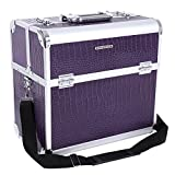 SONGMICS Grand Beauty case Malette coffrets boîte à maquillage 36,5 x 22 x 35 cm violet JBC229