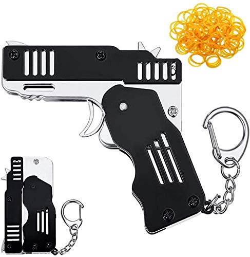 ZGHYBD Mini Folding Rubber Band Gun,Launcher Toy with Keychain and Rubber Bands Pocket Rubber Banders Gun for Outdoor Activities Shooting Game 5#