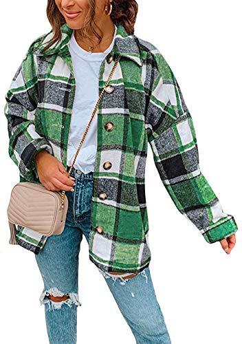 EFOFEI Camisa a cuadros con bolsillos, chaqueta de felpa para invierno, informal, cálida, a cuadros, clásica, de forro polar, manga larga, túnica de primavera