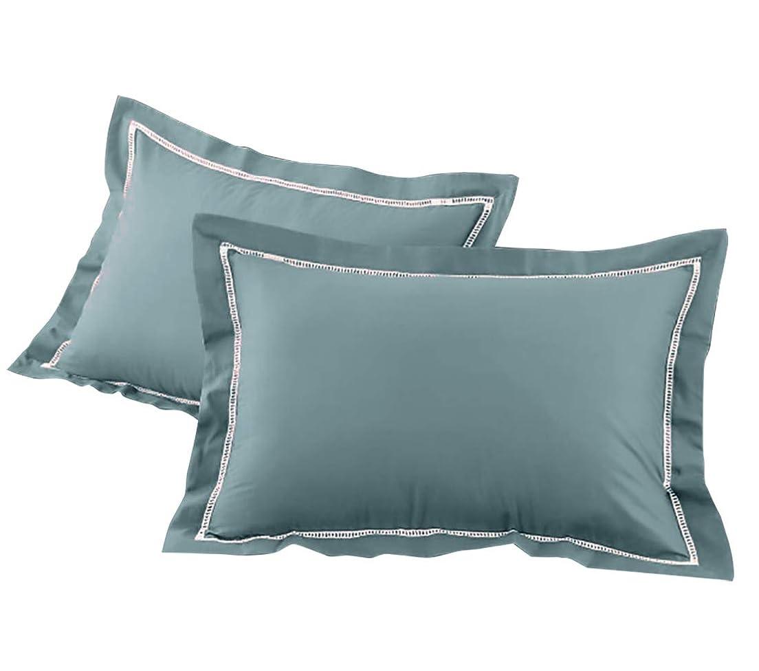 水銀の原稿ラショナル枕カバー ピローケース 厚手 綿100% 平織り 防ダニ 抗菌 防臭 ホワイトレース 同色2枚組セット 35×50cm用 ブルー