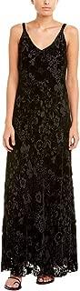 Women's Nina Burnout Velvet Sleeveless Silk Blend Maxi Dress, Black, Medium